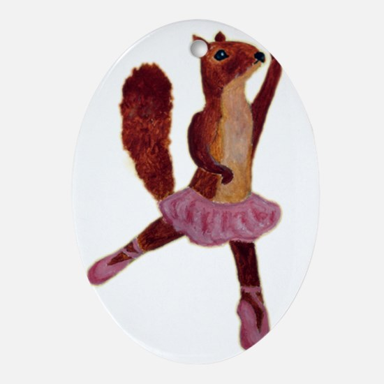 Ballet Squirrel Oval Ornament