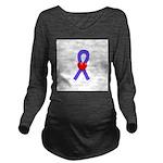 Periwinkle Heart Ribbon Long Sleeve Maternity T-Sh