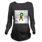 Green Heart Ribbon Long Sleeve Maternity T-Shirt