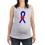 Blue Heart Ribbon Maternity Tank Top