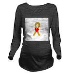 Gold Heart Ribbon Long Sleeve Maternity T-Shirt
