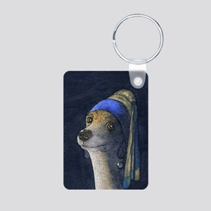 Dog with a pearl earring Aluminum Photo Keychain
