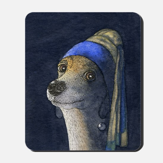 Dog with a pearl earring Mousepad