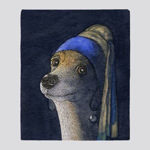 Dog with a pearl earring Throw Blanket