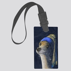 Dog with a pearl earring Large Luggage Tag