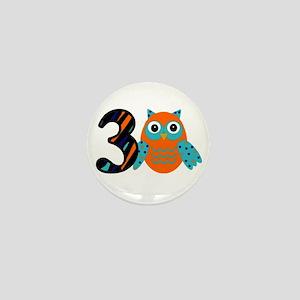Birthday Boy Owl with a 3 Mini Button