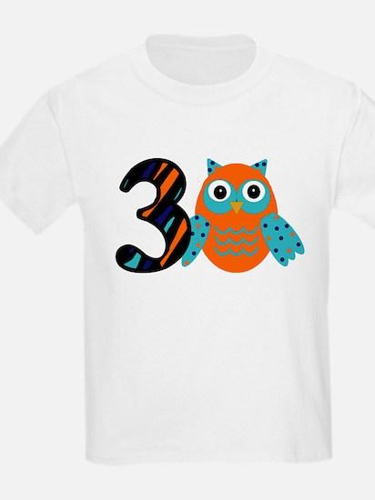 Birthday Boy Owl with a 3 T-Shirt