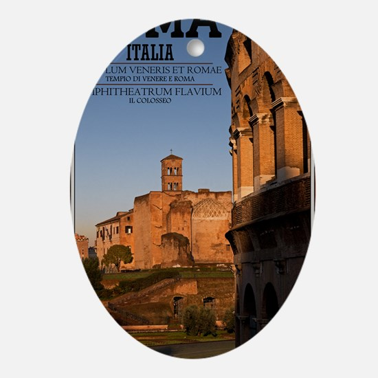 Rome - Colosseum and Temple of Venus Oval Ornament