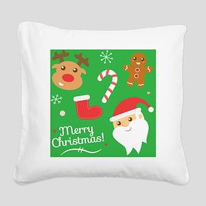 Cute Christmas, Santa, Reinde Square Canvas Pillow
