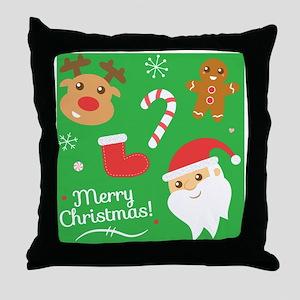 Cute Christmas, Santa, Reindeer, Ging Throw Pillow