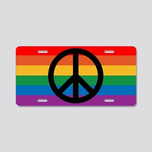 Rainbow Peace Aluminum License Plate