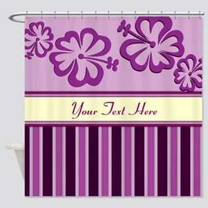 Purple And Pink Stripe Hibiscus Personalized Showe