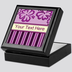 Purple And Pink Stripe Hibiscus Personalized Keeps