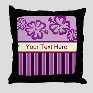 Purple And Pink Stripe Hibiscus Personalized Throw