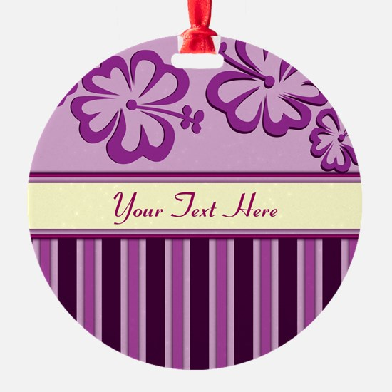 Purple And Pink Stripe Hibiscus Personalized Ornament