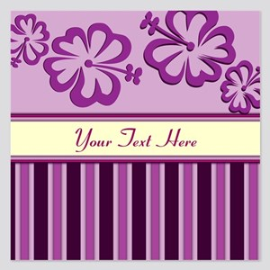 Purple And Pink Stripe Hibiscus Personalized 5.25