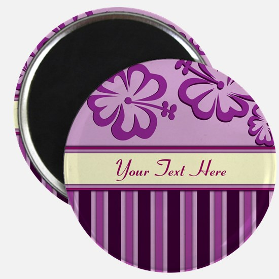 Purple And Pink Stripe Hibiscus Personalized Magne