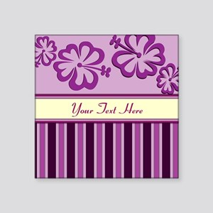 Purple And Pink Stripe Hibiscus Personalized Squar