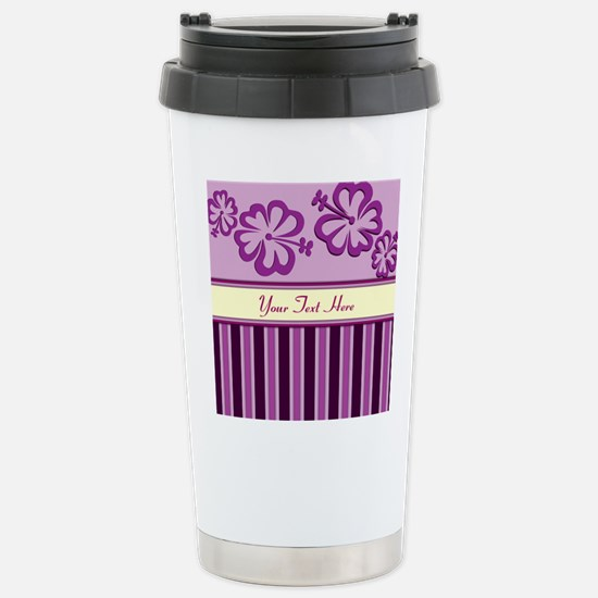 Purple And Pink Stripe Hibiscus Personalized Ceram