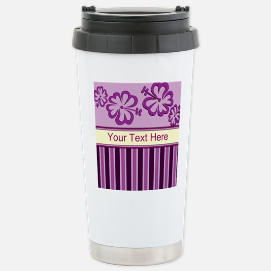 Purple And Pink Stripe Hibiscus Personalized Ceram