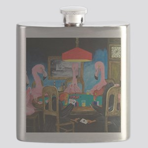 Birds Playing Poker Flask