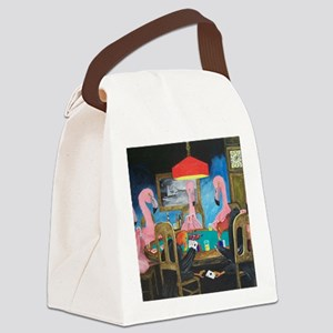 Birds Playing Poker Canvas Lunch Bag