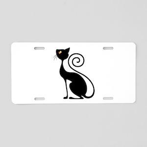 Black Cat Vintage Style Design Aluminum License Pl