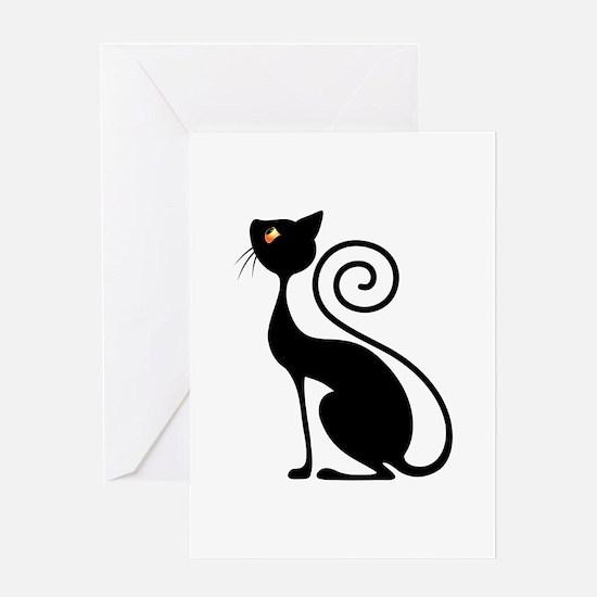 Black Cat Vintage Style Design Greeting Cards