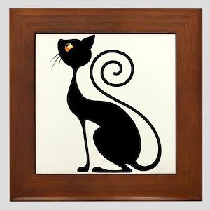 Black Cat Vintage Style Design Framed Tile