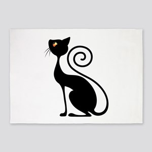 Black Cat Vintage Style Design 5'x7'Area Rug