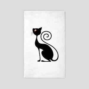 Black Cat Vintage Style Design 3'x5' Area Rug