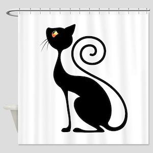 Black Cat Vintage Style Design Shower Curtain