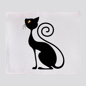 Black Cat Vintage Style Design Throw Blanket