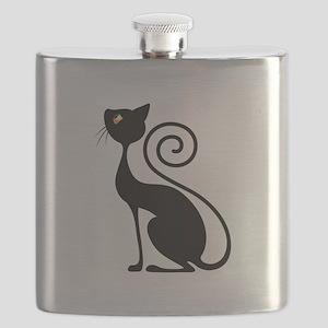 Black Cat Vintage Style Design Flask