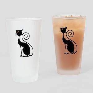 Black Cat Vintage Style Design Drinking Glass