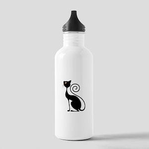 Black Cat Vintage Style Design Water Bottle