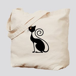 Black Cat Vintage Style Design Tote Bag