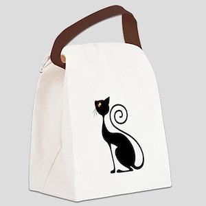 Black Cat Vintage Style Design Canvas Lunch Bag