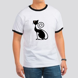 Black Cat Vintage Style Design T-Shirt