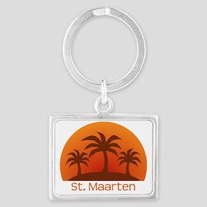 threePalmsLight_StMaarten_10x10 Landscape Keychain