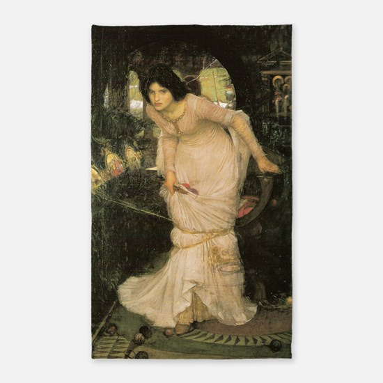 The Lady of Shalott Looking at Lanc 3'x5' Area Rug