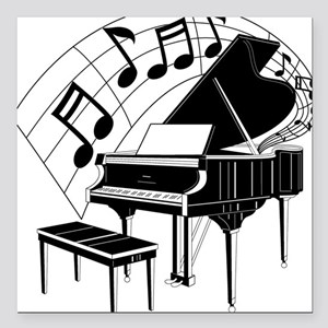 "PianoNotes10x10 Square Car Magnet 3"" x 3"""