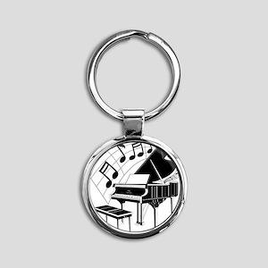 PianoNotes10x10 Round Keychain