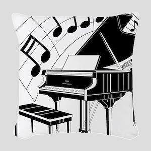 PianoNotes10x10 Woven Throw Pillow