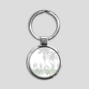 2-Lost palm trees light Round Keychain