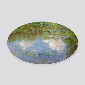 Water Lilies (The Clouds) Oval Car Magnet