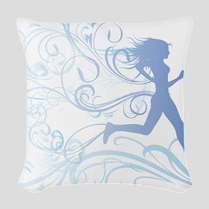 runner_girl_blue Woven Throw Pillow