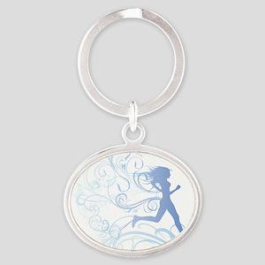 runner_girl_blue Oval Keychain