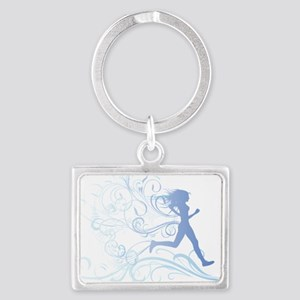 runner_girl_blue Landscape Keychain