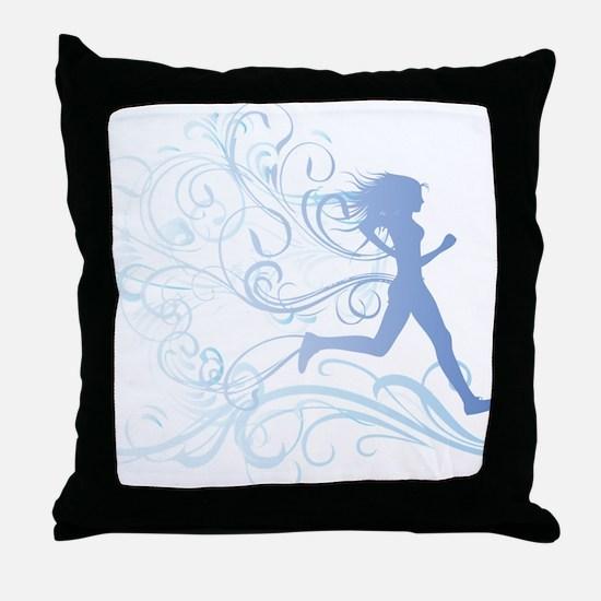 runner_girl_blue Throw Pillow